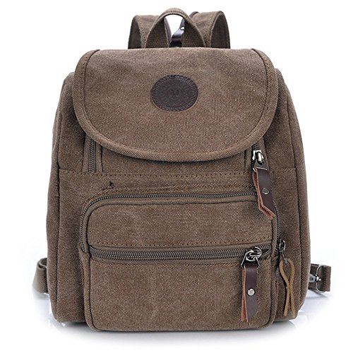 Hiigoo Multi Zipper Pocket Small Cross Body Shoulder Bag Backpack (Brown) Backpack Style Handbag