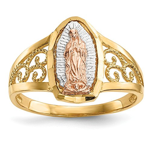 - 14k Two Tone Yellow Gold White Lady Of Guadalupe Band Ring Size 7.00 Religious Fine Jewelry Gifts For Women For Her