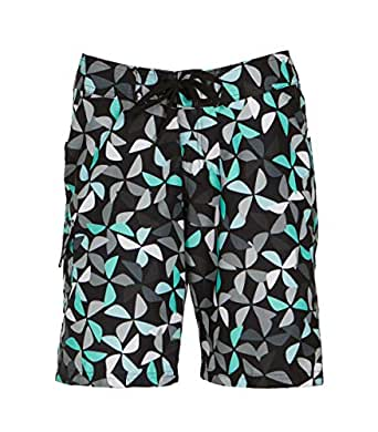 Kanu Surf Women's Audrey UPF 50+ Active Printed Swim and Workout Board Short, Black, 6