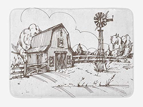 Weeosazg Windmill Bath Mat, Rustic Barn Farmhouse Hand Drawn Illustration Countryside Rural Meadow, Plush Bathroom Decor Mat with Non Slip Backing, 23.6 W X 15.7 W Inches, Dark Brown and White]()