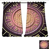 zodiac trailer - Blackout Window Curtain Zodiac Horoscope Signs with Inner Circles Shell Like Swirls Image Customized Curtains W108 x L108 Purple Pink Black and Gold