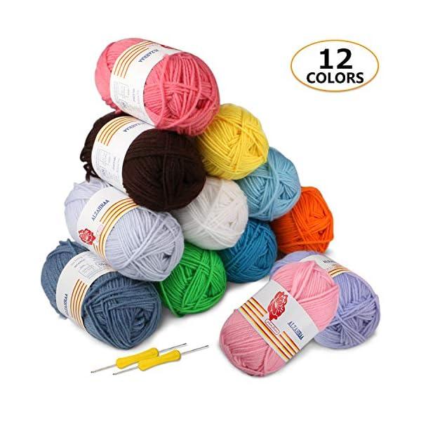 Gomitoli di Lana 12*50g Ratel Filato Lana Filati Lana Acrylico 100% per uncinetto e lavori a maglia(12 Colori) 1 spesavip