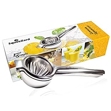 Squeezard - Lemon Squeezer - Professional Citrus Press - Big Size Citrus Juicer for Lemon, Lime and Small Orange - Manual Juicer - Stainless Steel Lemon Press - Bonus E-book with Recipes