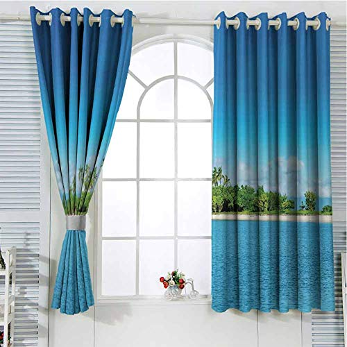 Jinguizi Grommet Window Curtain Country Curtain Island,Uninhabited Island at Philippines Beach Palm Trees Forest Tropical Vacation Picture,Blue Green Doorway Curtain 63 x 45 inch