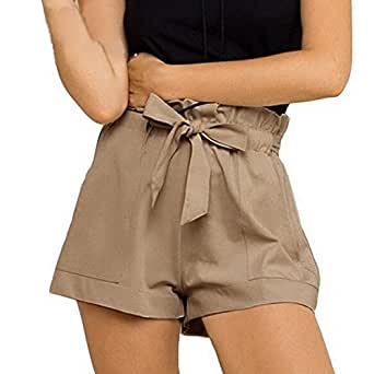 Gillberry Pants Women's Casual High Waist Loose Fashionable Shorts Female With Belt Small Khaki