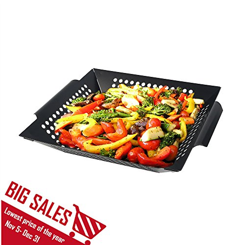 Arctic Monsoon Stainless Steel Non-Stick Grilling Basket, Black (Seafood Grill Basket compare prices)
