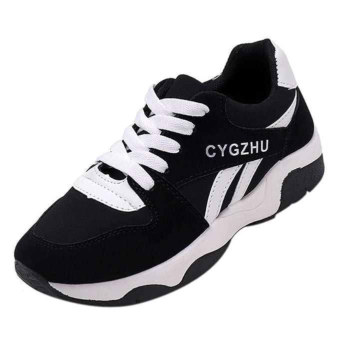 Zapatillas Deportivas de Mujer Negras YiYLunneo Malla Exterior Shoes Deportivas Informales Sneakers con Amortiguación de Aumentar Gruesa Calzado: Amazon.es: ...