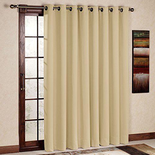 RHF Wide Thermal Blackout Patio door Curtain Panel, Sliding door insulated curtains,Thermal curtains,Extra Wide curtains:100W by 84L Inches-Beige (Patio Door Curtain Panel)