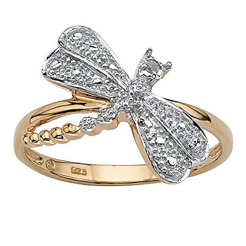 (White Diamond Accent 18k Gold over .925 Sterling Silver Dragonfly Ring Size 6)