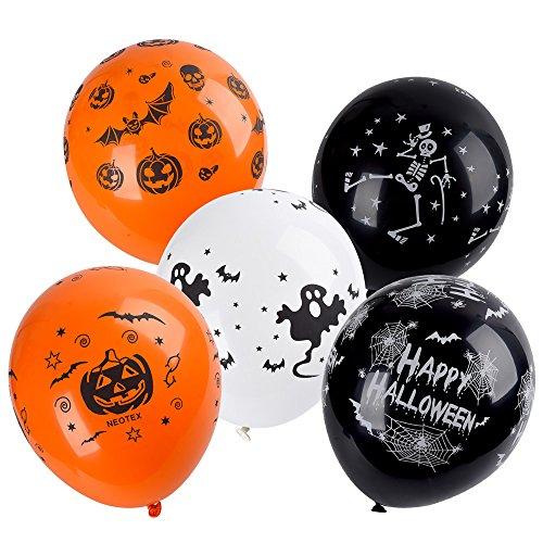 Antner 12 Inches Halloween Decoration Skeleton Bat Specter Pumpkin Spider Web Latex Balloons, 100 (Halloween Balloons Helium)