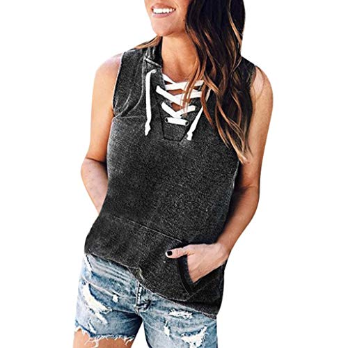 TIANMI Women's Summer Casual Sexy Tops Solid Sleeveless Leisure Ladies Shirt Fashion Chest Strap Top Pocket Blouse Gray