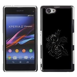 Be Good Phone Accessory // Dura Cáscara cubierta Protectora Caso Carcasa Funda de Protección para Sony Xperia Z1 Compact D5503 // Black Minimalist Rose Floral