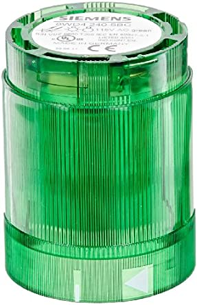 Siemens 8WD42 40-5BC Sirius Signal Column, Thermoplastic Enclosure, IP54 Degree of Protection, 50mm Diameter, Repeated Flash Light Element, 115VAC Rated Voltage, Green