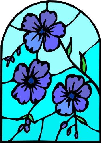 ロイヤルブルー&パープルViolets – エッチングビニールStained Glass Film , Static Cling Window Decal 21 in x 33 in ブルー B005LASQ2S  21 in x 33 in