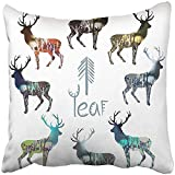 I DO Pillow Covers Print Blue Drawn Wood in Deer Silhouette Concept of Winter Spring Summer and Autumn Landscapes Brown Calm Polyester Zippered Square Pillow Case For Home Bed Couch Sofa