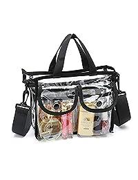 PUBAMALL Bolsas de cosméticos de PVC Transparente, con Bandolera extraíble y Ajustable, para Hombres de Mujeres (Claro, One Pack)