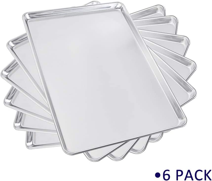 Sheet Pan Aluminum Bakeware Set 6 Pack 15'' x 21'' Commercial for Jelly Roll Baking Cookie Wire Reinforced Nontoxic 3/2 Size (15''x21'')