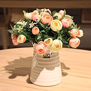 Situmi Artificial Fake Flowers Modern Style Camellia Ceramic Vases Potted Plants Decorated With Orange Home Accessories 25