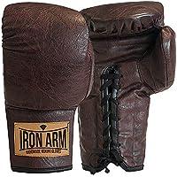 Luva Boxe Muay Thai Classic 14 Oz Couro Café Iron Arm