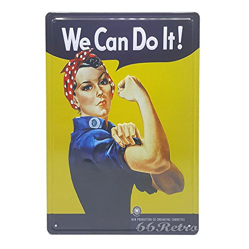 We Can Do It! Rosie the Riveter, Retro Embossed Metal Tin Sign, Wall Decorative Sign, 20cm x 30cm