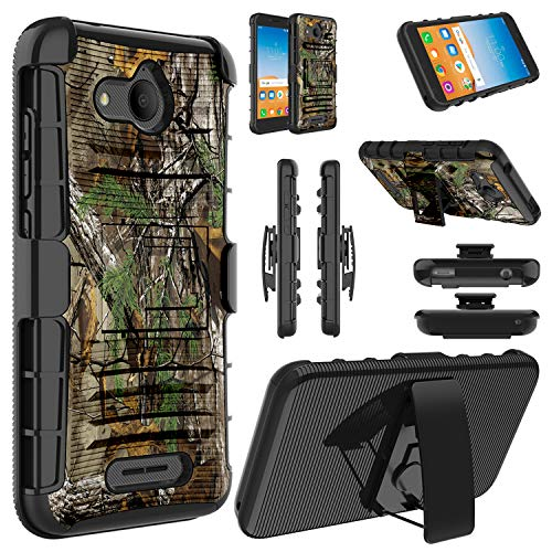 Alcatel Tetra Case, Elegant Choise Hybrid Heavy Duty Dual Layer Shockproof Full Body Protective Case Cover with Kickstand and Swivel Belt Clip for Alcatel Tetra-Camo