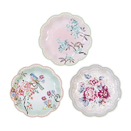 Talking Tables Truly Romantic Small Floral Disposable Plates, 12 count, 7 inches in 3 Designs for a Birthday or Tea Party