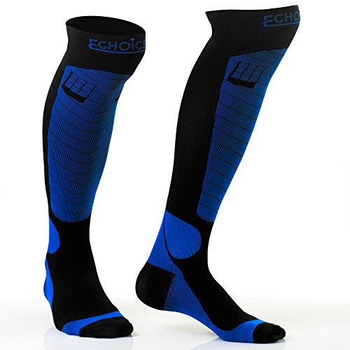 LuChoice Professional Compression Socks 20-30 mmHg (1-Pair) Medical & Orthopedic Support - Anti-Fatigue, Antibacterial - Athletics, Nursing, Pregnancy - Men and Women