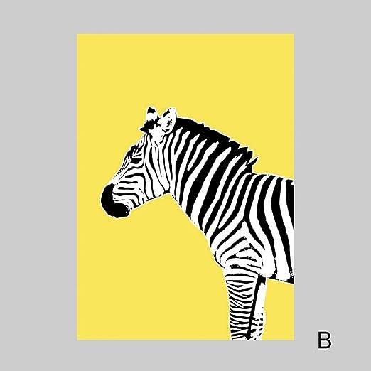PLDZSH Tríptico Cartel Amarillo Cebra Lienzo Pintura Cartel ...