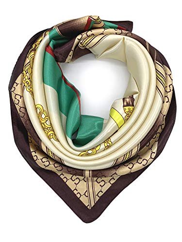 (YOUR SMILE Silk Like Scarf Women's Fashion Pattern Large Square Satin Headscarf,Beige&Green)