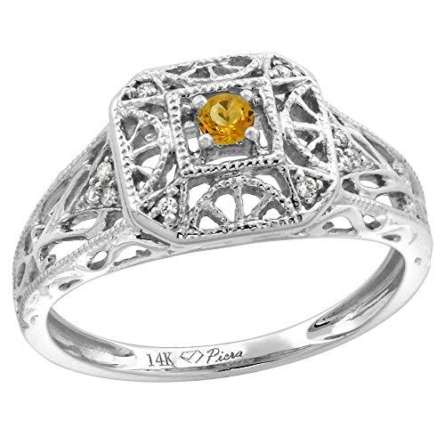 - 14k White Gold Diamond Genuine Citrine Engagement Ring Filigree Round Brilliant cut 3mm, size 7