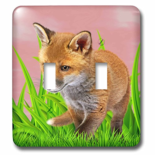 3dRose Sven Herkenrath Animal - Really Sweet Little Fox In Green Grass Cute Design - Light Switch Covers - double toggle switch (lsp_286389_2) by 3dRose