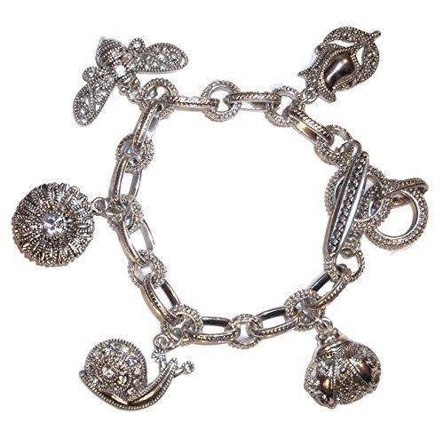 Marcasite Toggle Clasp - Crystal Studded Garden Theme Charm Bracelet D5 Marcasite Look Ladybug Bee Snail Flower