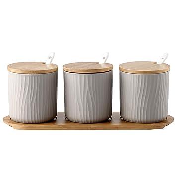 Whchiy - Barattolo portaspezie con coperchio, design moderno, antipolvere,  perfetto per la cucina Grey