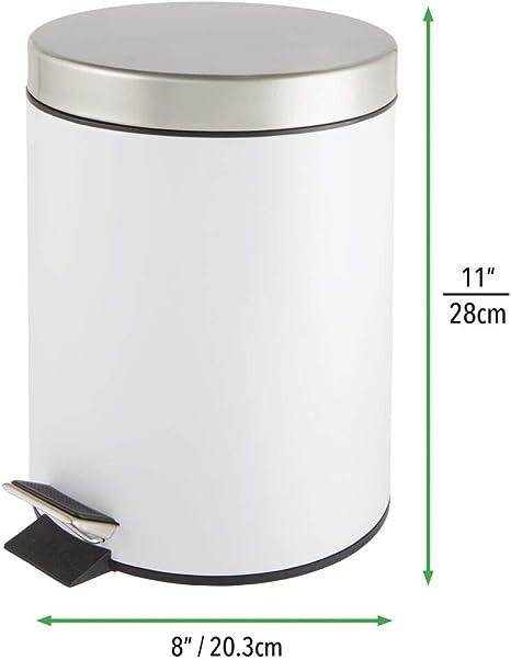 3 l Wei/ß 24 cm M/ülleimer mit Pedal und Deckel Makingifts Badezimmer-M/ülleimer