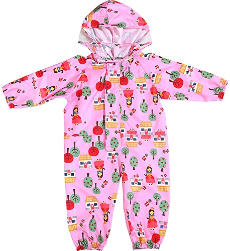 Kids and Toddler One Piece Waterproof Coverall Rain Suit with Hood (Pink, 1-3 -