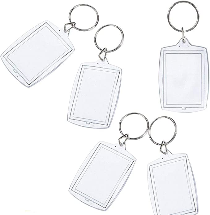 10 x Qualità Premium Trasparente Acrilico in Bianco Foto Portachiavi Chiavi 50 X