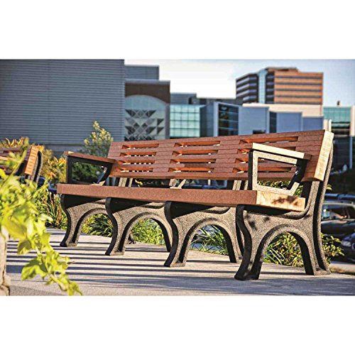 Elite 8 Ft. Backed Bench With Arms, Green Bench/Green Frame