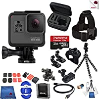 Gopro Hero 5 Black 15 Piece Explorer Bundle Includes: Go Pro Hero5 Black + Case + Flexible Tripod + Head Strap + Glove Mount + More