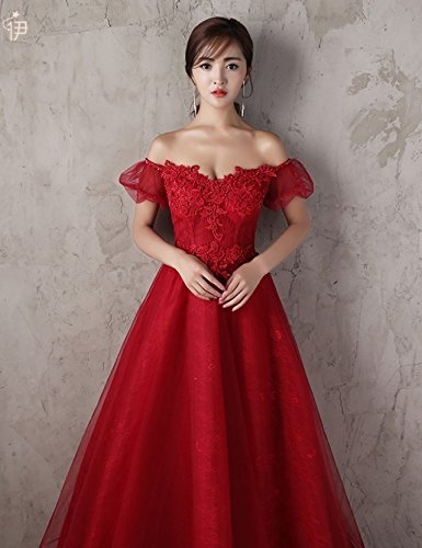Generic Korean toast clothing red wedding dress banquet presided over strapless evening dress sexy long Dress Costume for women girl by Generic (Image #2)