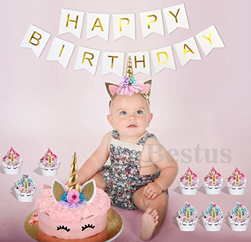 Bestus (29 pack) Unicorn Cake Topper with Eyelashes, Headband, Cupcake Wrappers and Happy Birthday Banner./Unicorn Party Supplies,for Birthday Party, Baby Shower, Kids Party Decoration by Bestus (Image #5)