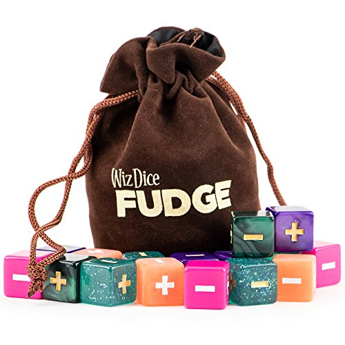 20 Fudge Dice GM Starter Pack: Mystical | 5 Sets of 4 Fudge Dice | Compatible with Fate or FAE Rulesets | Tabletop Role-Playing Game Dice | Chocolate Brown Carry Bag