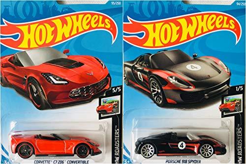 (Hot Wheels Corvette C7 Z06 Convertible Red 92/250 and Porsche 918 Spyder Black 94/250 2 Car Bundle Set)