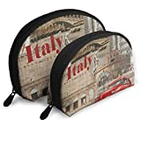Makeup Bag Italy Leaning Tower Of Pisa Red Car Handy Shell Toiletry Bags Case For Women