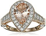14k Rose Gold Morganite and Diamond Solitaire Pear Shape Ring (3/4cttw, H-I Color, I1-I2 Clarity), Size 7