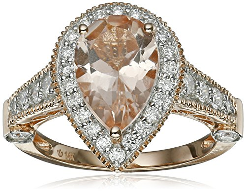 14k Rose Gold Morganite and Diamond Solitaire Pear Shape Ring (3/4cttw, H-I Color, I1-I2 Clarity), Size 7 - Pear Cut Diamond Solitaire Setting