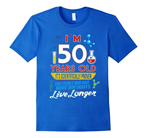 Mens Funny 50th Birthday Science Lover T-Shirt Geeky Gag Gifts Large Royal Blue