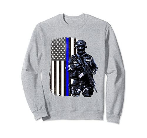In The Line Of Duty Costumes (Unisex Thin Blue Line Police SWAT American Flag Patriot Sweatshirt Small Heather Grey)
