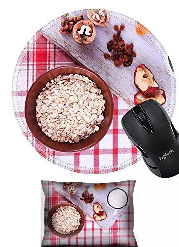Liili Mouse Mouse Wrist Rest and Round Mousepad Set, 2pc Wrist Support IMAGE ID 33562412 Bowl of oatmeal mug of yogurt marmalade chocolate raisins dried apricots and walnuts on wooden cu