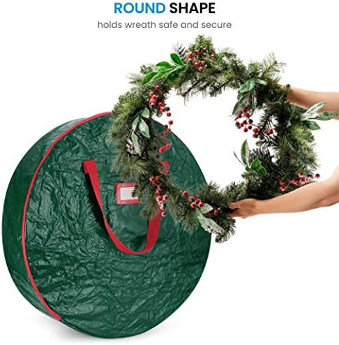 "ZOBER Christmas Wreath Storage Bag 24"" - Water Resistant Fabric Storage Dual Zippered Bag for Holiday Artificial Christmas Wreaths, 2 Stitch-Reinforced Canvas Handles, Card Slot for Labeling (Green)"