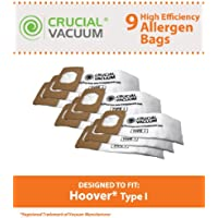 9 Replacements for Hoover Type I Bags Fit Platinum UH30010COM Uprights, Compatible With Part # AH10005 & 985059002, by Think Crucial